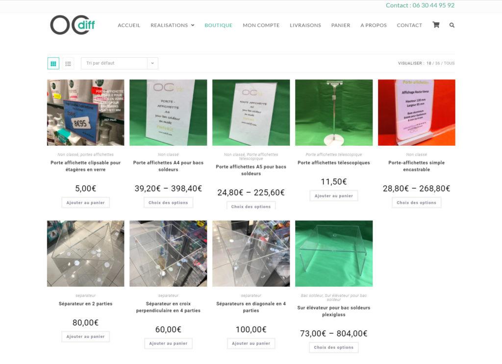 gence creation site e commerce et catalogue pour OCDIFF